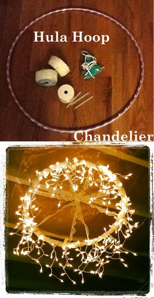 bricolaje decoraciones boda de la lámpara con el aro hula