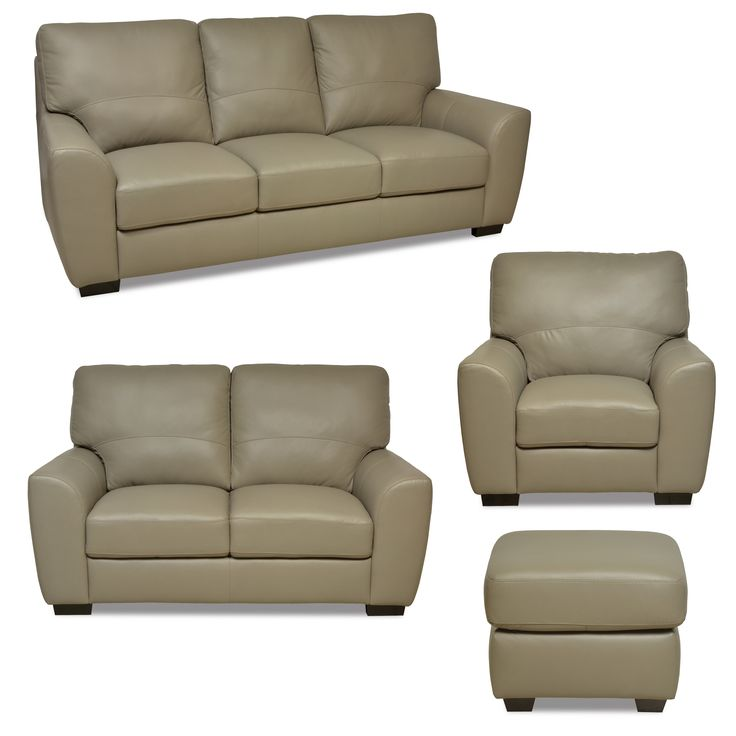 4 Piece Macie Collection   Light Beige Leather, 100% Genuine Cowhide Leather.  Sofa