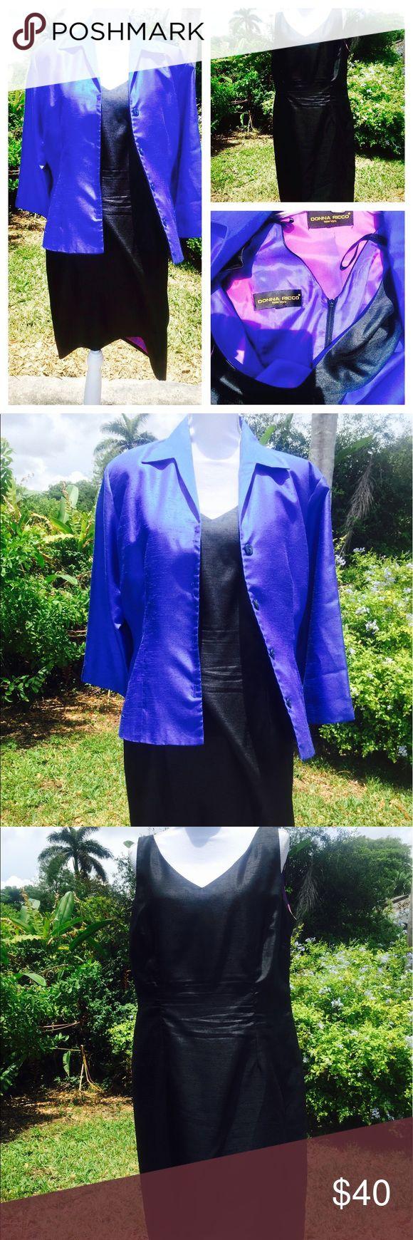 Donna Ricco 100% silk dress blue cover size L Donna Ricco 100% silk dress blue cover size L.  39 inches in length, 32 inches in waist, 19.5 inches in Arm Donna Ricco Dresses