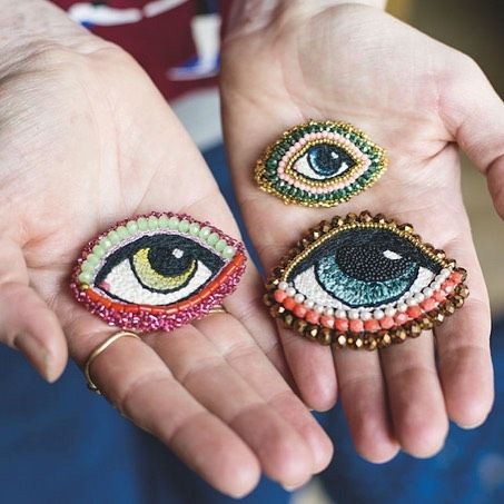 embroidered eyes