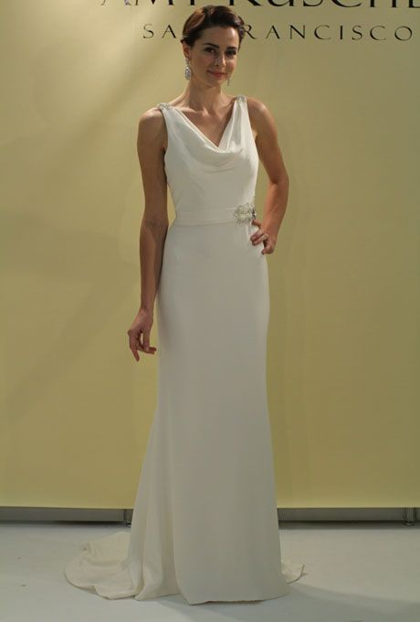 """Amy Kuschel - Fall 2012. """"Margaret Ann"""" sleeveless silk crepe sheath wedding dress with a cowl neckline and beading on the waist and shoulders, Amy Kuschel"""