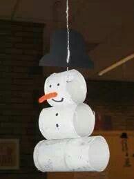 knutselen sneeuwman wc-rol