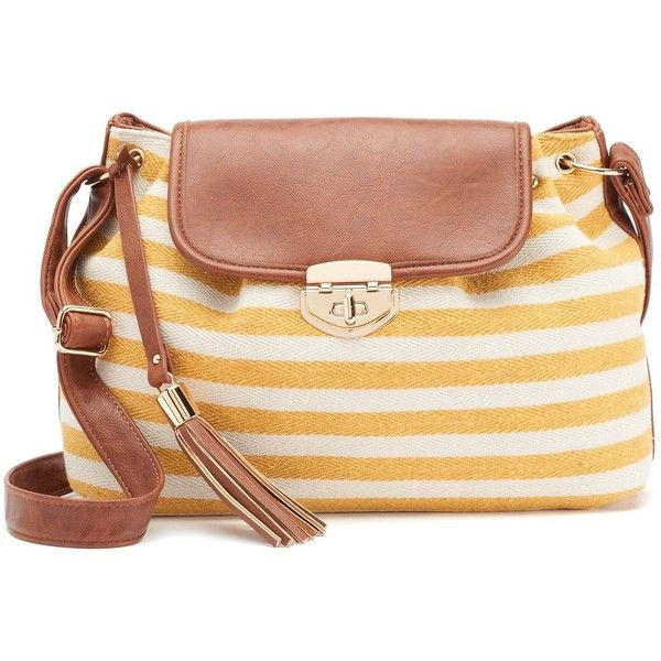 Under One Sky Tassel Nautical Striped Crossbody Bag (€31) ❤ liked on Polyvore featuring bags, handbags, shoulder bags, yellow, yellow shoulder bag, man bag, yellow crossbody, shoulder handbags and purse shoulder bag