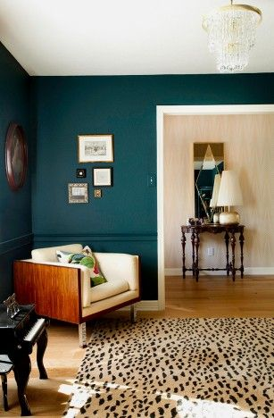 love this wall color for a bed room with the cherry-wood bedframe
