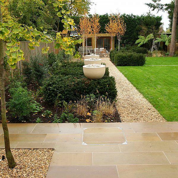 Expansive Landscaped Garden Lawn Minimalist Design With Pebble Border And Birch Trees Ewell Surrey Lawn Design Contemporary Garden Design Veggie Garden