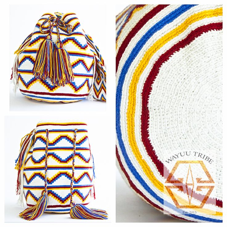 Visit www.Wayuutribe.com to see more Mochilas and boho bags styles. These bags are known as the Susu bag to the Wayuu people. The average bag takes 10-20 days to hand weave. All bags are Handmade. Wayuu people are use bight different colors and patterns to tell the story of the weaver. These are all one-of-kind bags. Wayuu tribe bags are $148.00.They are woven with cotton thread. A nice beach bag or farmer bag that is very sturdy. #boho #HANDMADE