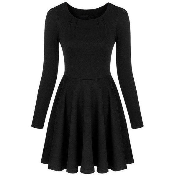 LUCLUC Long Sleeve Scoop Mini Skater Dress ($23) ❤ liked on Polyvore featuring dresses, vestidos, black, lucluc, kohl dresses, longsleeve mini dress, mini skater dress, black longsleeve dress and long-sleeve mini dress