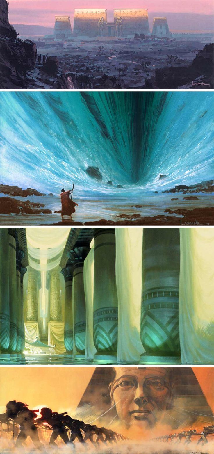 Concept art by Paul Lasaine for the 1998 DreamWorks film, The Prince of Egypt