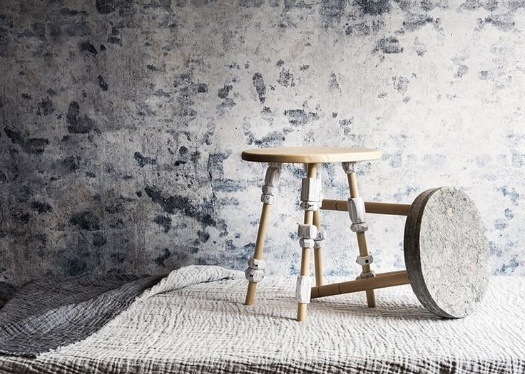 Paper imitates a Marbled and Concrete like appearance in these beautiful stools by designers Pia Wustenberg (left) and Paula Szwedkowicz (right) Available exclusively to purchase from mywarehousehome.com/shop. Photography by Oliver Perrott   Styling by Hannah Franklin