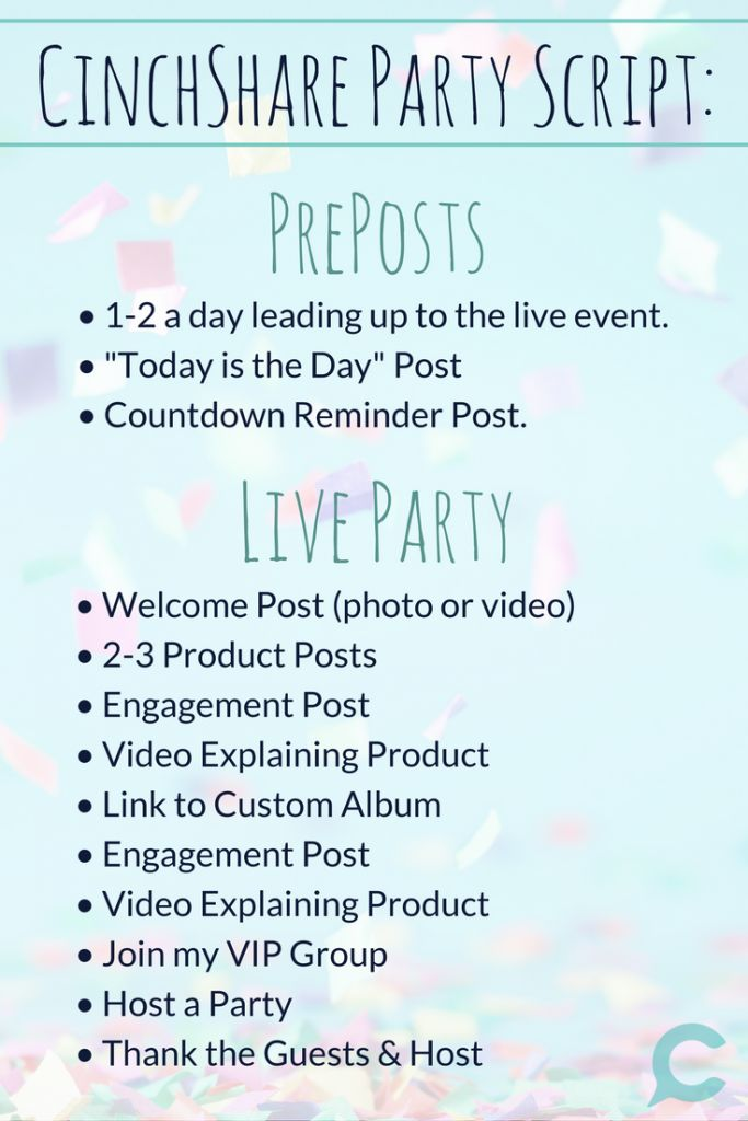 A plan for how many and what type of posts to use for a FB event party from The Truth About Facebook Blocks - CinchShare Blog