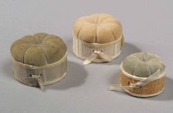 Shaker Pincushions, Canterbury, New Hampshire, late 19th to early 20th century, ht. 1 1/8, 1 5/8, 1 6/8; dia. 2, 2 1/2, 2 1/2 in.
