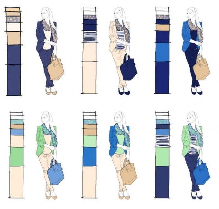 Variationen mit zwei Basis- und zwei Akzentfarben: Mit einpaar einfachen Styling-Regeln passt immer alles zusammen. Mehr über die richtigen Farben für Ihre Basisgarderobe finden Sie bei www.modefluesterin.de