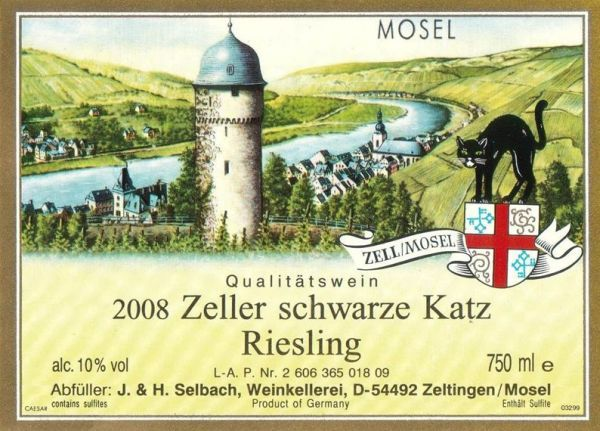 Zeller Schwarze Katz wine   My favorite Riesling...The one that I can get all year!