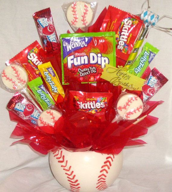 Baseball Centerpiece, Baseball Candy Bouquet, Kid's Get Well Soon Gift, Baseball party supplies, Baseball Party decorations
