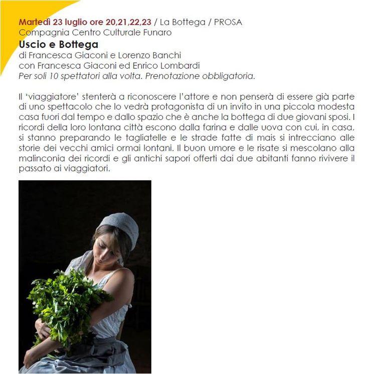 Ultimo appuntamento del ESTATUS QUO: Martedì 23 luglio 2013 ore 20/21/22/23 - USCIO E BOTTEGA Compagnia Centro Culturale il Funaro www.quintaparete.org