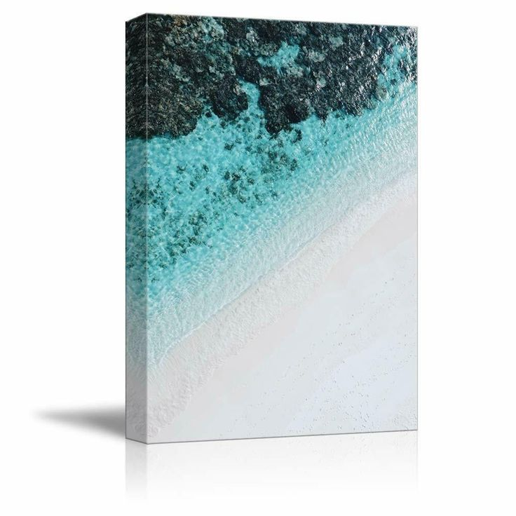 Nwt Canvas Wall Art White Sand Beach Wave Ocean Water Painting Artwork For Home