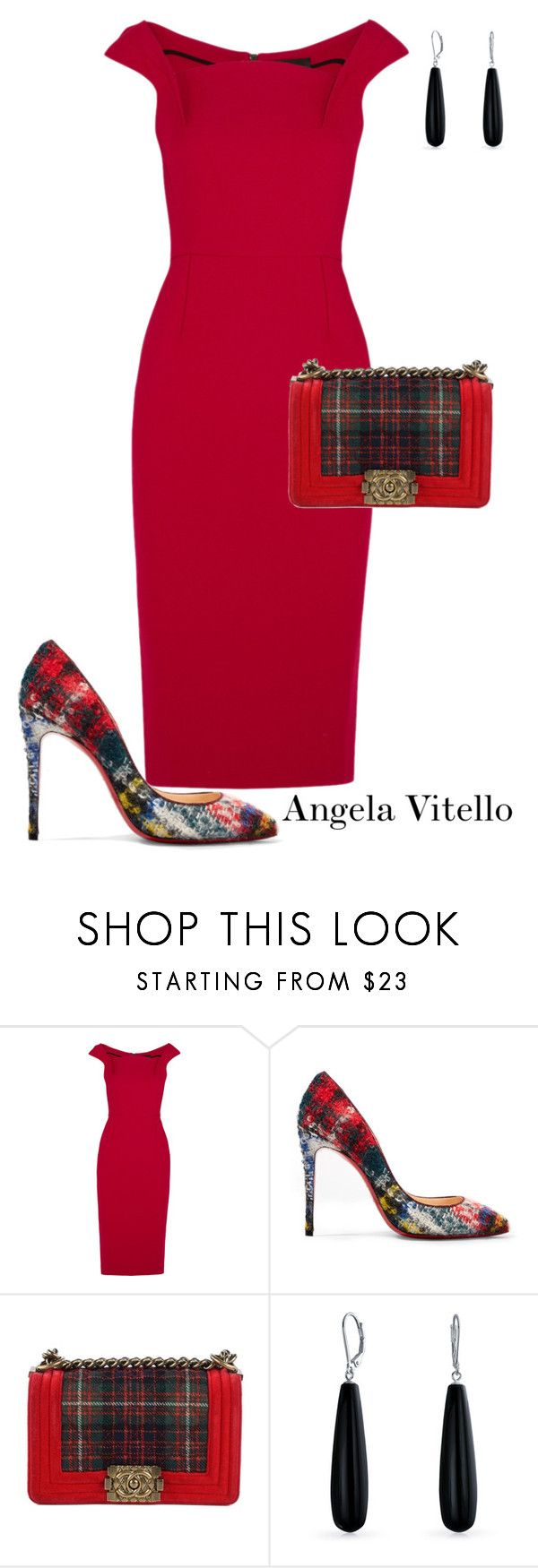 """""""Untitled #1082"""" by angela-vitello on Polyvore featuring Roland Mouret, Christian Louboutin, Chanel and Bling Jewelry"""