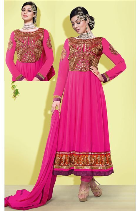 Awesome Ayesh Takia Georgette Pink Long Anarkali Salwar Suit