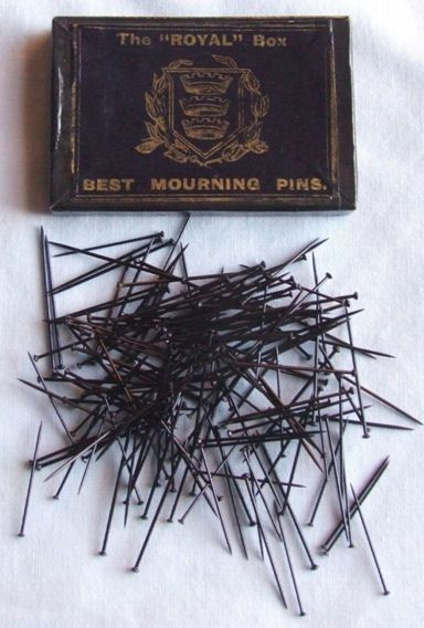 """Mourning Pins, from the """"Materials of Mourning"""" blog. http://materialsofmourning.wordpress.com/#"""