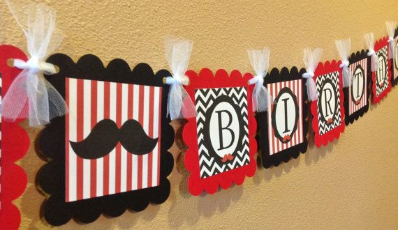 PARTY PACK - Happy Birthday Mustache Bash Little Man Baby Shower Collection on Etsy, $49.00