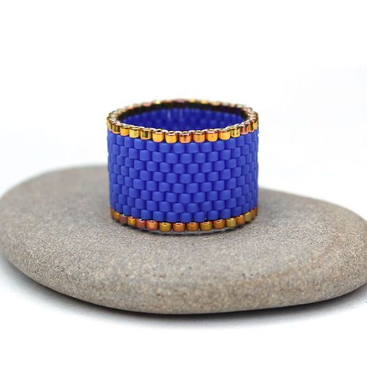 Кольца ручной работы. Ярмарка Мастеров - ручная работа. Купить Яркое синее кольцо из бисера Кольцо на каждый день Ультрамарин. Handmade.