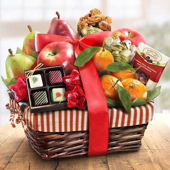 Holiday Snack Fruit Gift Basket.  See more at www.pro-gift-baskets.com!