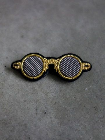 Hand Embroidered Glasses Brooch