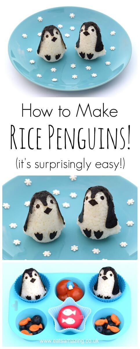 How to make cute penguin shaped rice balls - full instructions video tutorial and a fun healthy penguin themed toddler muffin tin meal - from Eats Amazing UK