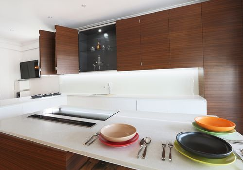 Style Kitchen By Design showroomusing NAV Enviroven™ Veneers in Pecano Timber Veneer. Style Kitchens By Design located at 21 Latrobe Terrace, Brisbane www.stylekitchensbydesign.com.au