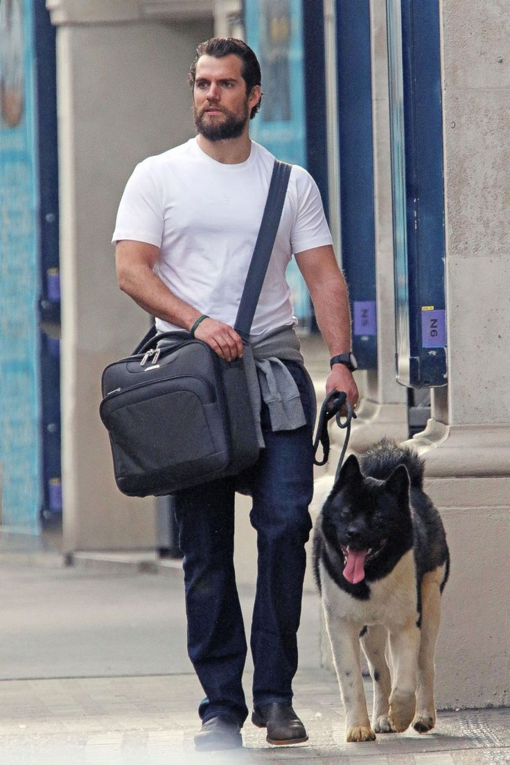 "Henry Cavill Takes His Dog Kal-El for a Walk ""Superman"" actor Henry Cavill walks his dog Kal-El in London, April 14, 2015."