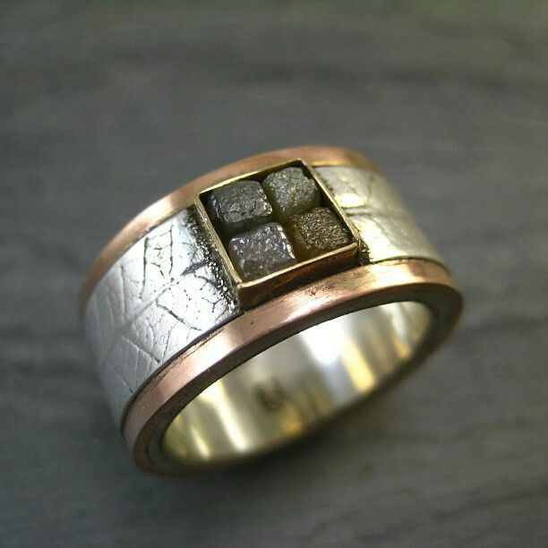 Wide Band Rough Diamond Ring