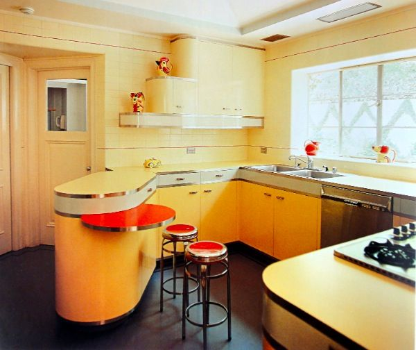 I love a 50s kitchen but i especially love the swivel out for Mid century modern kitchen cabinets