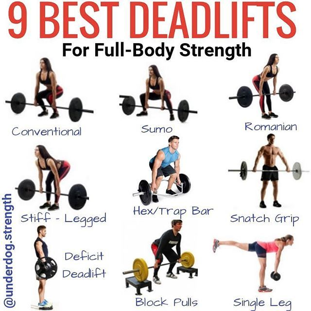 Here are 9 deadlift variations you must try for full body strength. - 1. The Conventional Deadlift is the most popular form of deadlift that peephole start with. - 2. Sumo Deadlift: Another popular variation especially among Powerlifters. Unlike a conventional deadlift your hands will be inside the knees. This emphasizes the quads and hips a bit more than conventional deadlifts - 3. Romanian Deadlifts: A variation of the conventional deadlift you start the movement at the top and bring down…