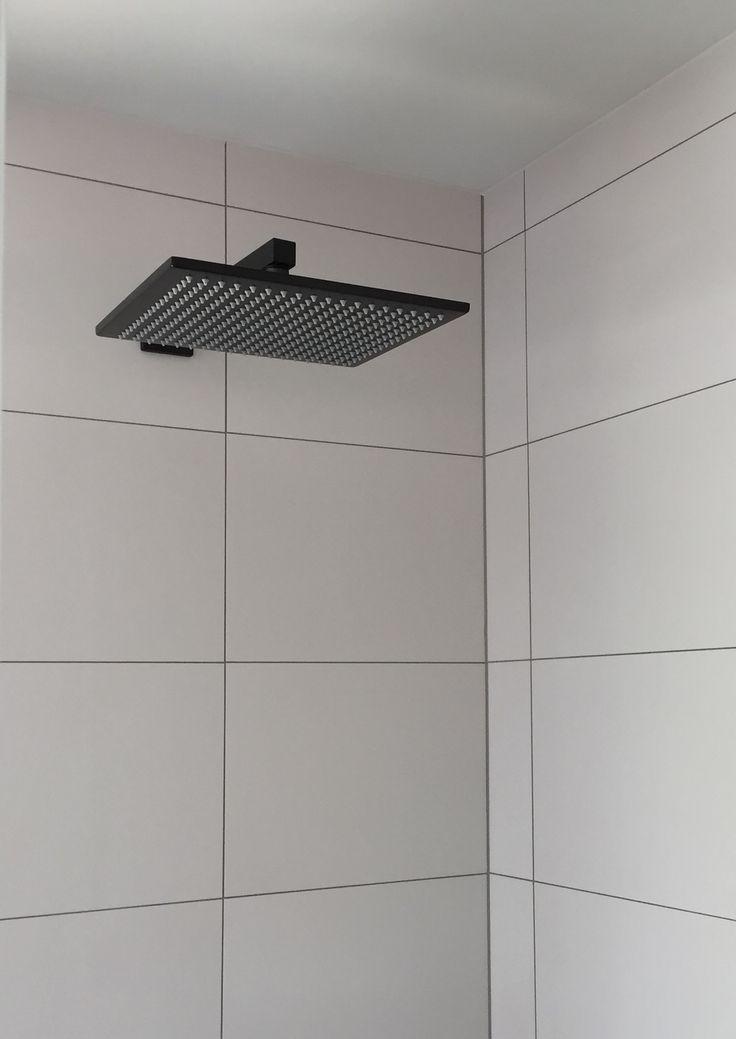 Square Wall Mounted Matte Black Shower (MA0102/03) by Meir. #MeirBlack #MeirAustralia #matteblack #blacktapware #bathroom #shower