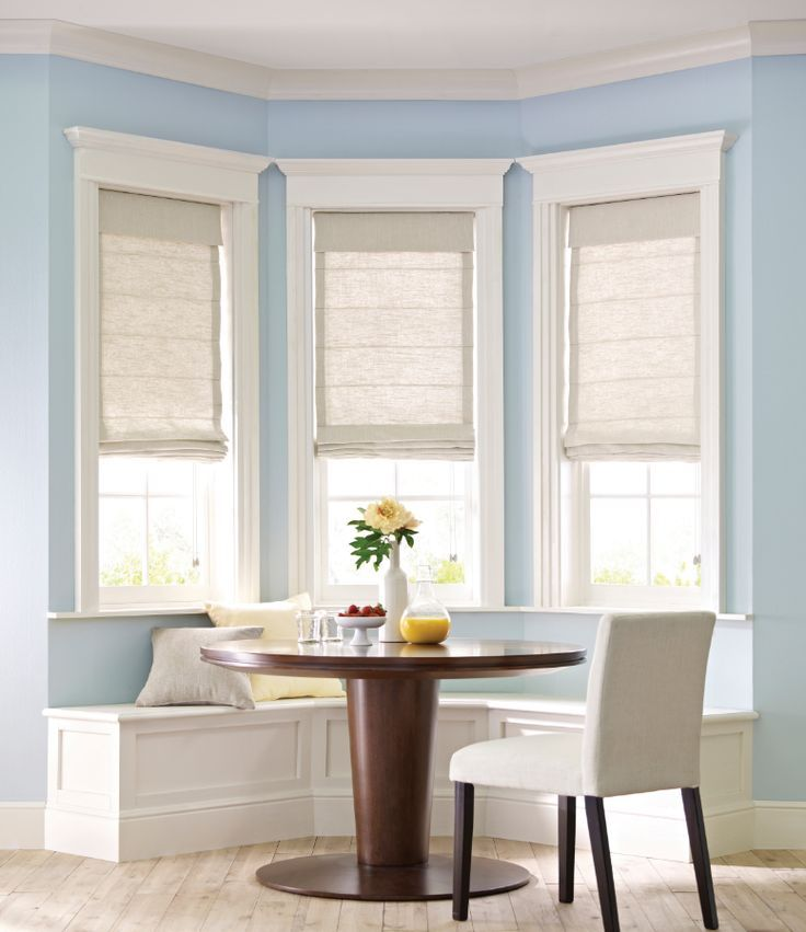 White Roman Shades Bay Window