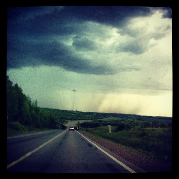 Видно как дождь идет полосами