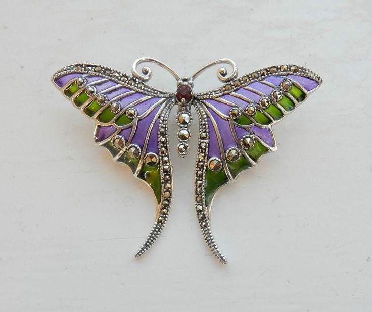 Art Nouveau Solid Silver & Plique Du Jour Enamel Suffragette Butterfly Pendant