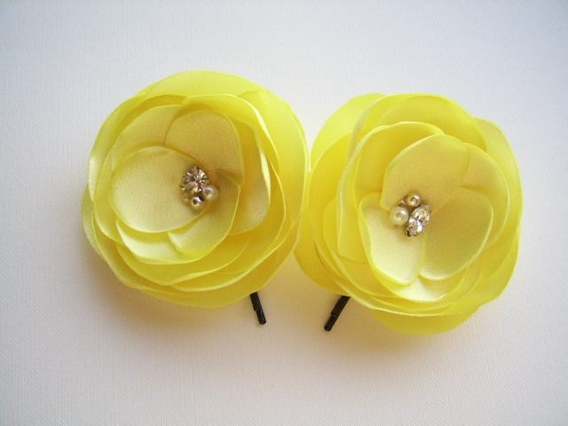 Bright Yellow Hair Pins Yellow Bridal Flowers by coloureen on Etsy. $19.00, via Etsy.