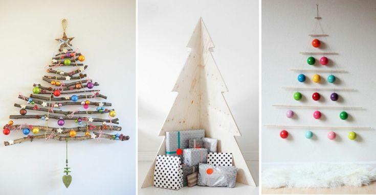 Original DIY Weihnachtsbäume und drei Vorschläge mit Holzzweigen und farbigen Kugeln
