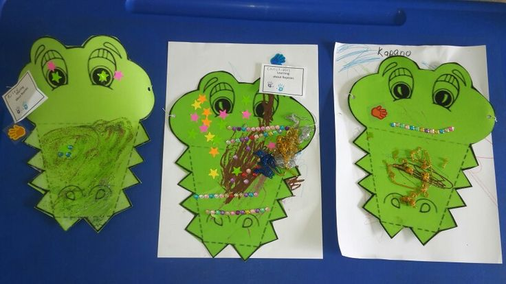 Sparkly crocodile visors.  Glitter glue makes any craft activity so much more fun !