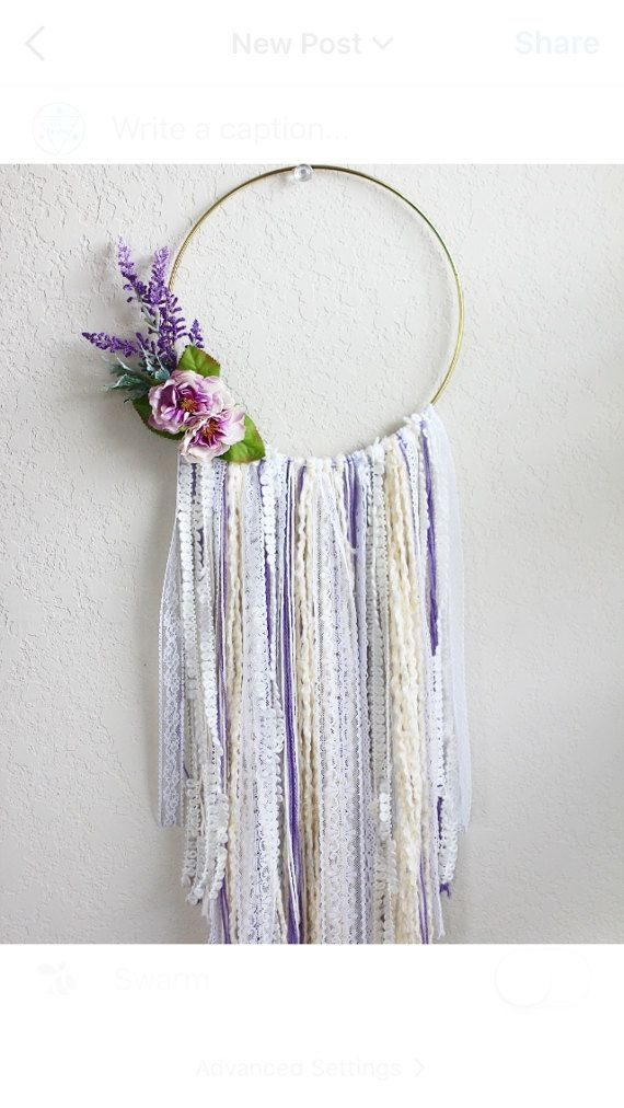 Large Bohemian Wall Hanging in Cream with Lavender Florals // Inspired by the Blanco, TX Lavender Festival! BarnyardPeacock yarn wall hangings are the perfect addition of soft color and texture for your modern bohemian home or Country Cottage.     Beautiful as a stand alone piece and also excellent at breaking up the straight lines of gallery walls, Large Bohemian Wall Hanging in Cream with Lavender Florals will add vibrancy and depth to your home. Perfect as Birthday, anniversary, Nursery…