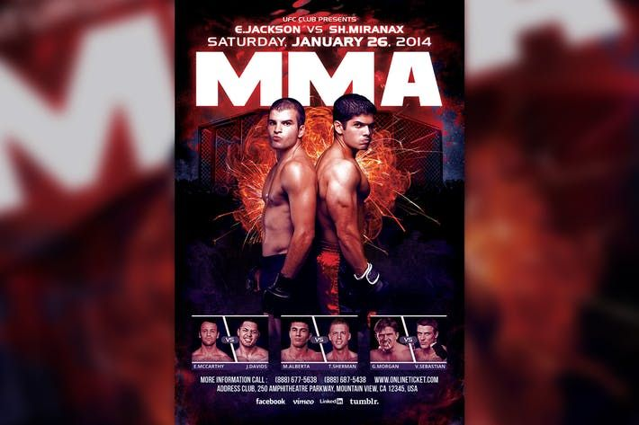 Mma  Boxing Showdown Fighting Club Flyer Template Flyer