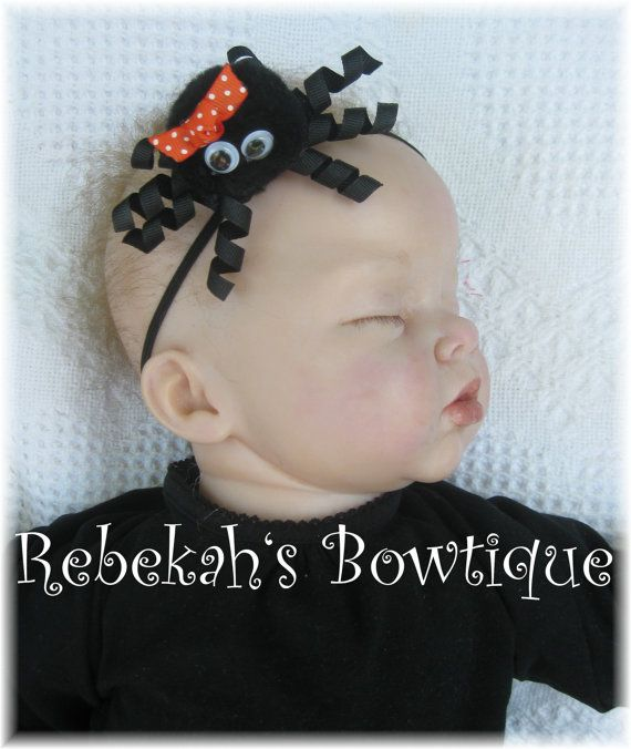 Halloween Black Itsy Bitsy Spider Small Hair Bow Hairbow Headband OR Clip Infant Toddler Girls Baby Babies Orange Dots via Etsy