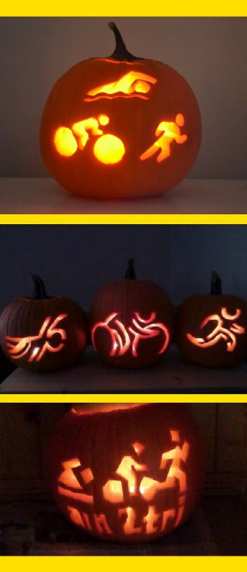 Triathlon-themed pumpkin carving pattern ideas for triathletes! Swimming, biking, running on one pumpkin! Happy Halloween!