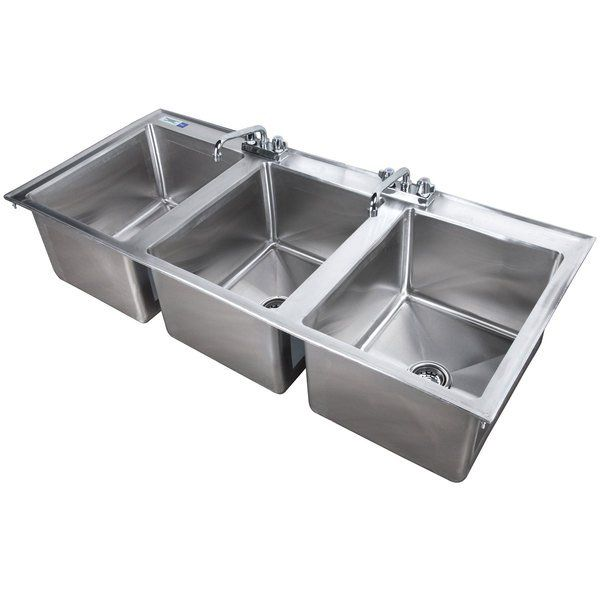 Regency 16 X 20 X 12 16 Gauge Stainless Steel Three Compartment Drop In Sink With 2 8 Faucets Drop In Sink Stainless Steel Sinks Sink