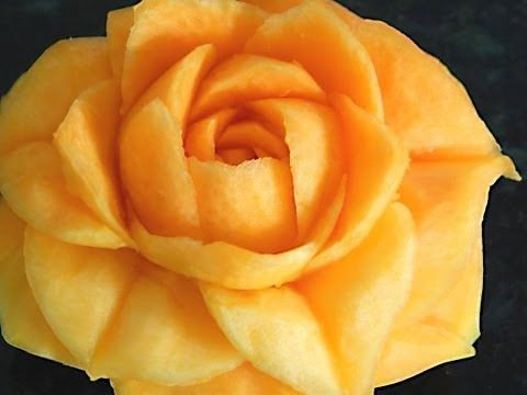 Fruit Carving, Pumpkin carving - LESSON 16 - OPEN PUMPKIN ROSE  - ROSA A...