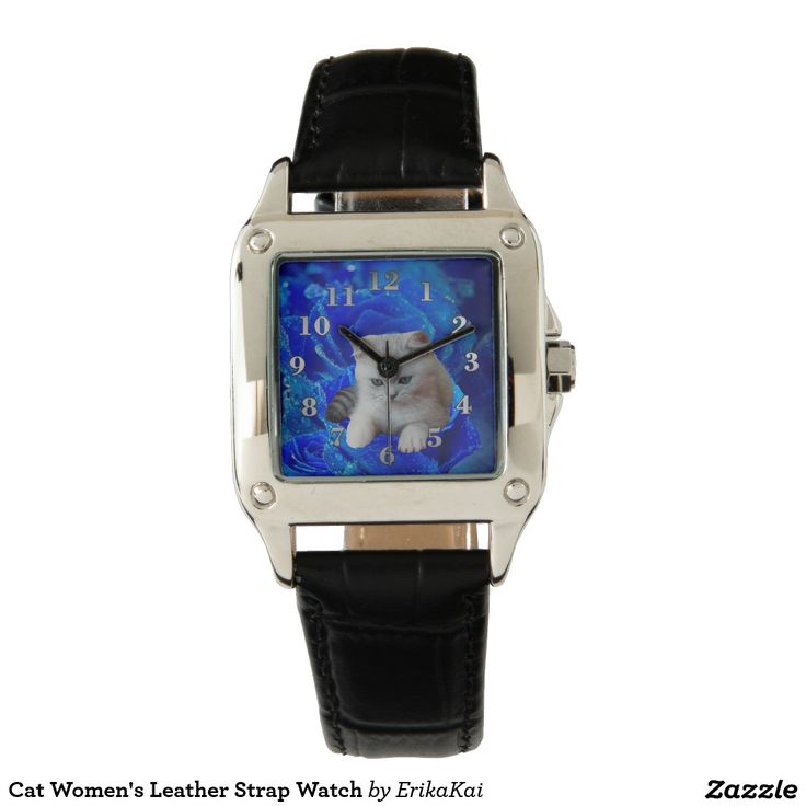 Cat and Blue Rose Women's Perfect Square Leather Strap Watch, black or brown.