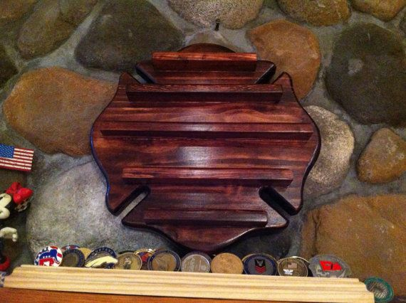 Firefighter's Maltese Cross Coin Display by KnotJustWoodworking, $60.00