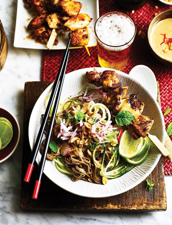 Satay chicken with soba and cucumber noodle salad - The cucumber ribbons add a refreshing crunch alongside the soba noodles and rich satay sauce in this salad. If you don't have a spiralizer, use a Y-shaped peeler to make long strips instead. You will need 12 wooden skewers for this recipe.