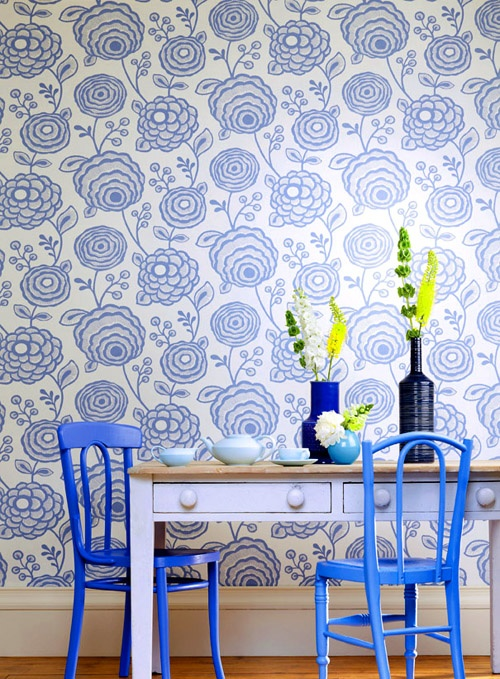 Also possibility for bathroom with blue tiles. Harlequin wallpaper pattern installed